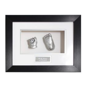 Baby cast frame - hand and foot in black and white