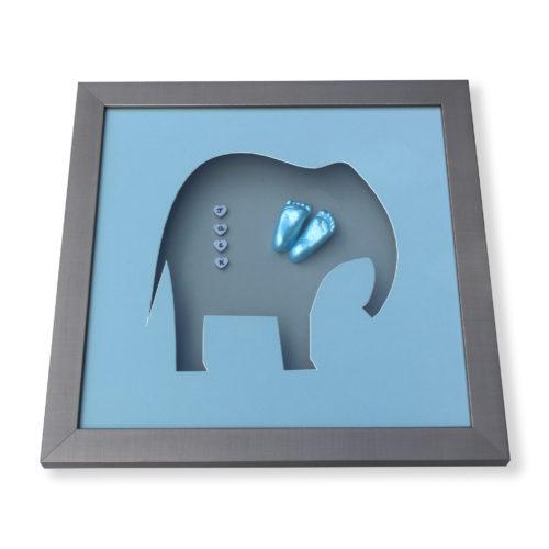 Silver blue elephant casting frame