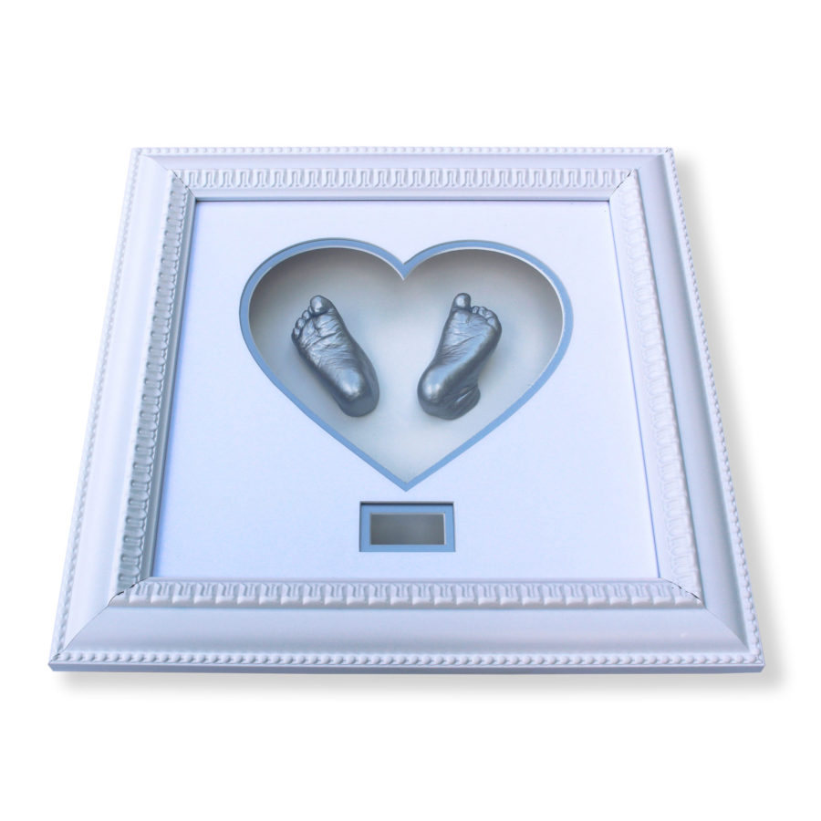 White & blue heart frame