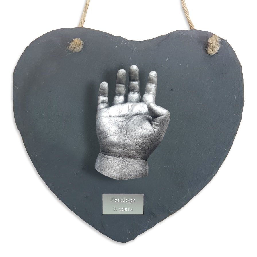 Hanging Heart Slate - One Cast hand