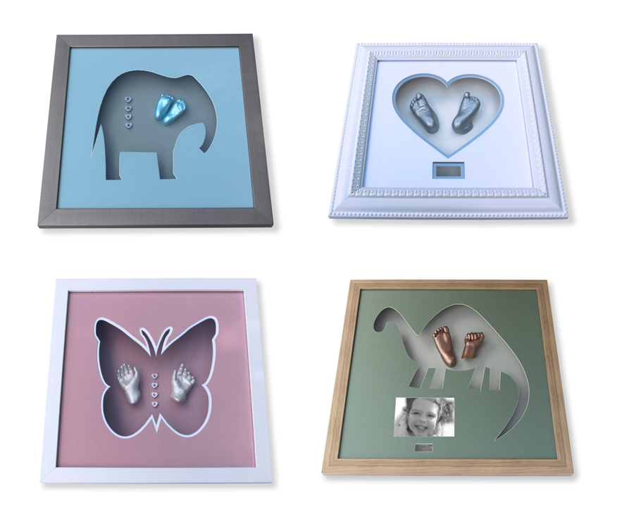 framed baby casts with shape inserts