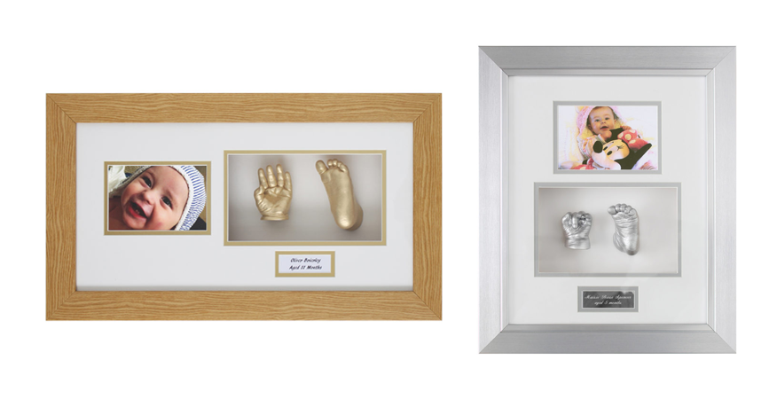 framed single hand and foot baby cast with photo