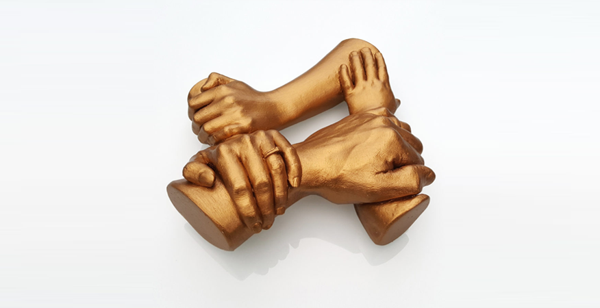 freestanding family hand casting