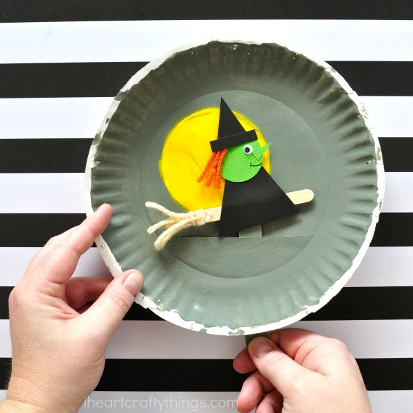 Halloween Crafts Paper Plate Flying Witch