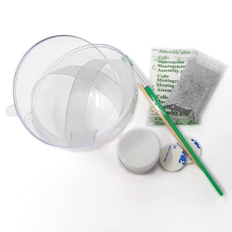 Bauble hand casting kit - ball, tools, paint, glitter