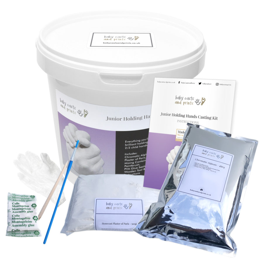 Junior/Childrens Casting Kit - opened bucket showing alginate, plaster and casting tools