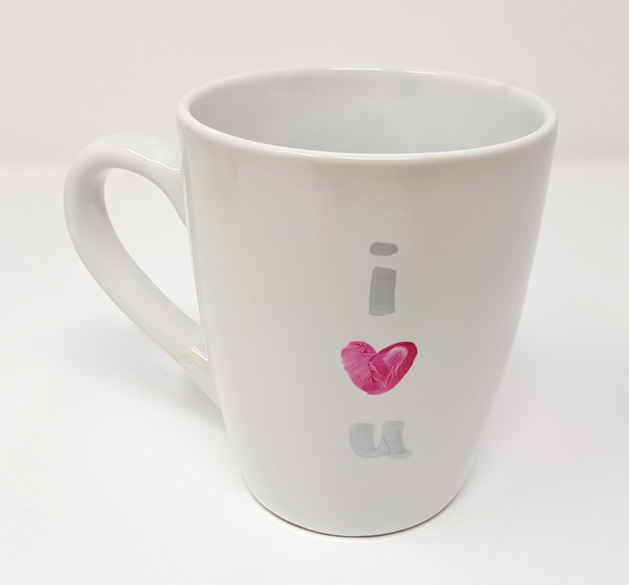 Handprint/Footprint Mug with Personalised Message & Date - love heart