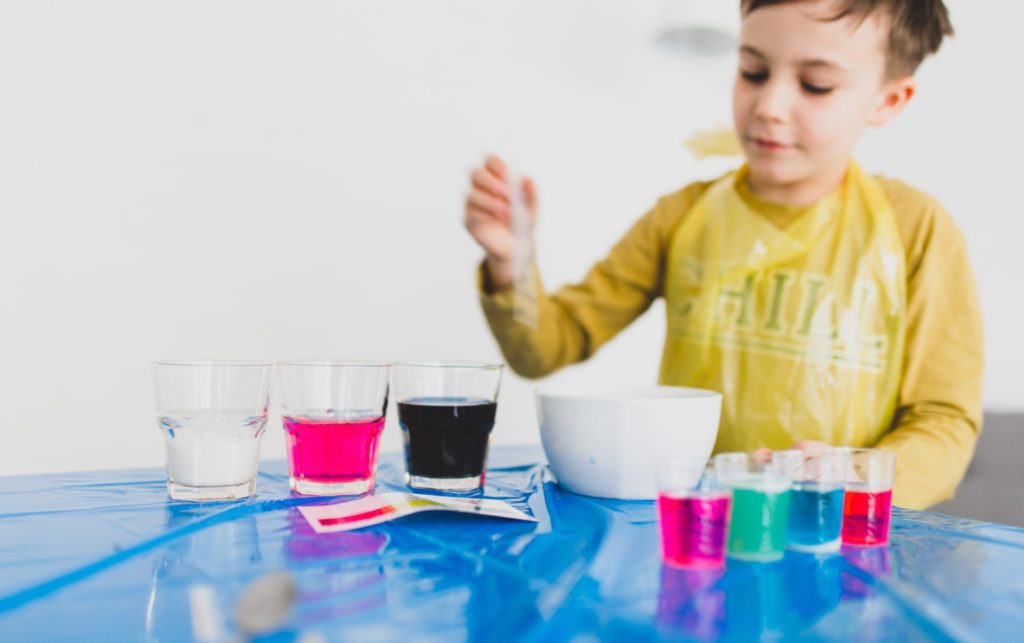 Child experimenting with colours